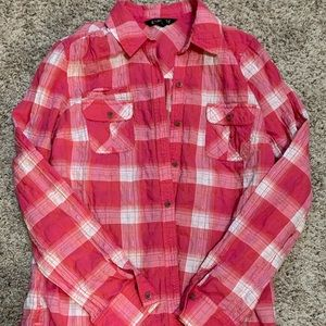 Express Pink Button Down Plaid Blouse, Size Medium